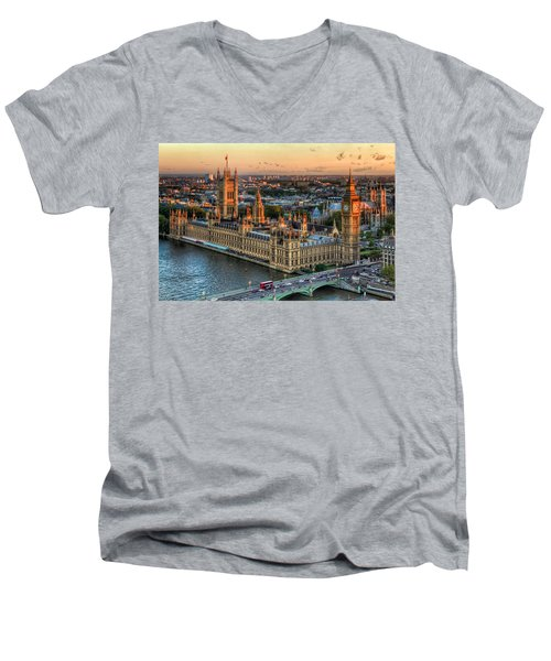 Westminster Palace Men's V-Neck T-Shirt by Tim Stanley