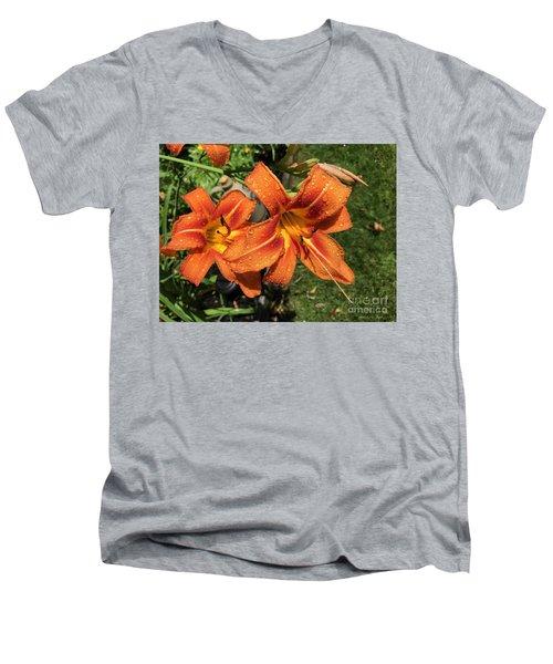 Wet Tiger Llilies Men's V-Neck T-Shirt