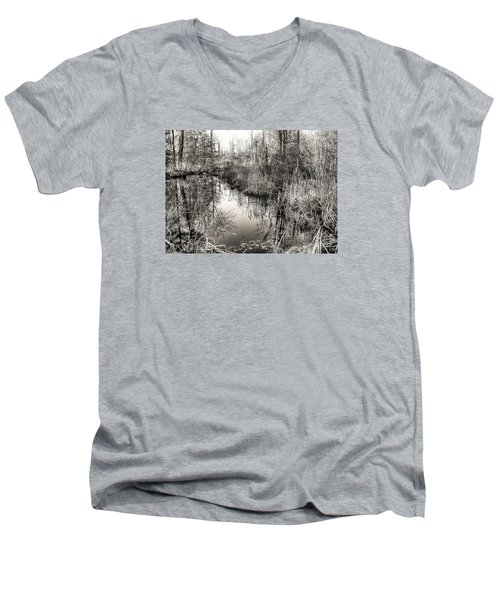 Wetland Essence Men's V-Neck T-Shirt by Betsy Zimmerli