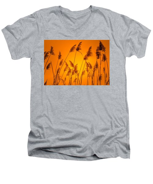 Wetland Sunset Men's V-Neck T-Shirt by Bruce Pritchett