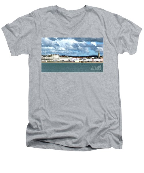 Men's V-Neck T-Shirt featuring the photograph Weymouth Seafront by Baggieoldboy
