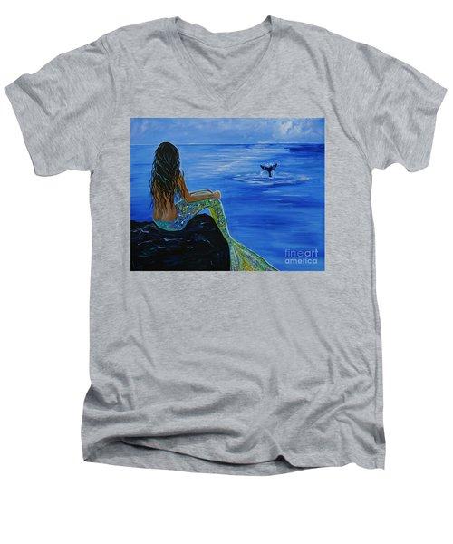 Whale Watcher Men's V-Neck T-Shirt by Leslie Allen