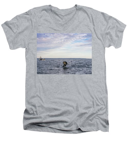 Whale Watching In Canada Men's V-Neck T-Shirt by Trace Kittrell