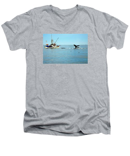 Whale Watching Moss Landing Series 26 Men's V-Neck T-Shirt by Antonia Citrino