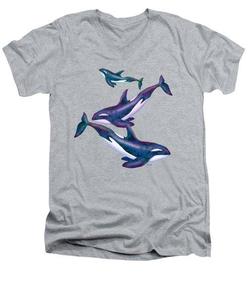 Whale Whimsey Design Men's V-Neck T-Shirt