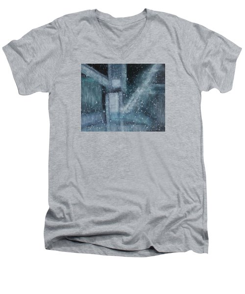 Men's V-Neck T-Shirt featuring the painting What Is The Soul Of Art by Min Zou