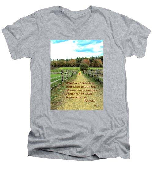What Lies Ahead Men's V-Neck T-Shirt by Deborah Dendler