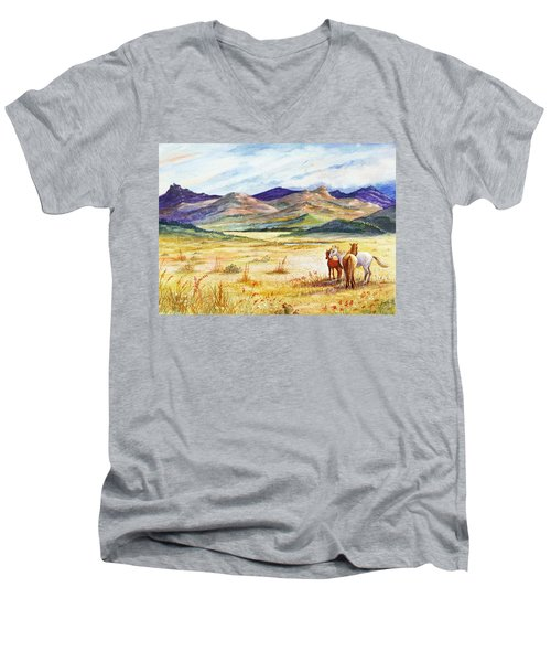 Men's V-Neck T-Shirt featuring the painting What Lies Beyond by Marilyn Smith