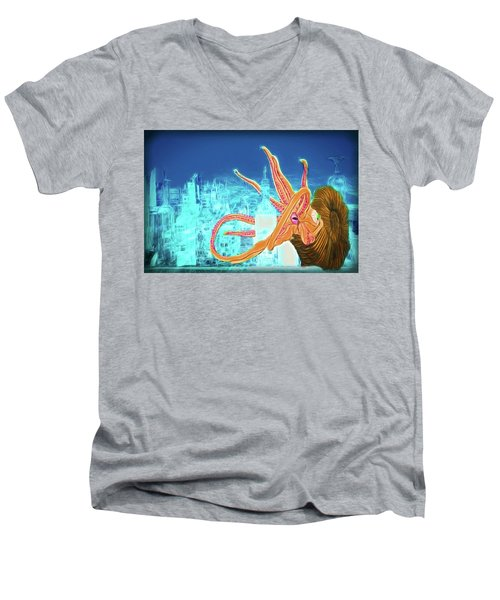 Men's V-Neck T-Shirt featuring the drawing What Will You Have by John Haldane