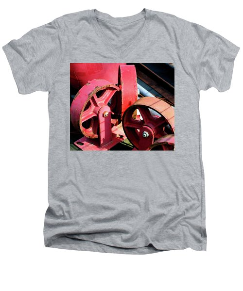 Men's V-Neck T-Shirt featuring the photograph Wheels by Cathy Harper