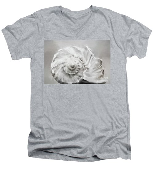 Men's V-Neck T-Shirt featuring the photograph Whelk In Black And White by Benanne Stiens
