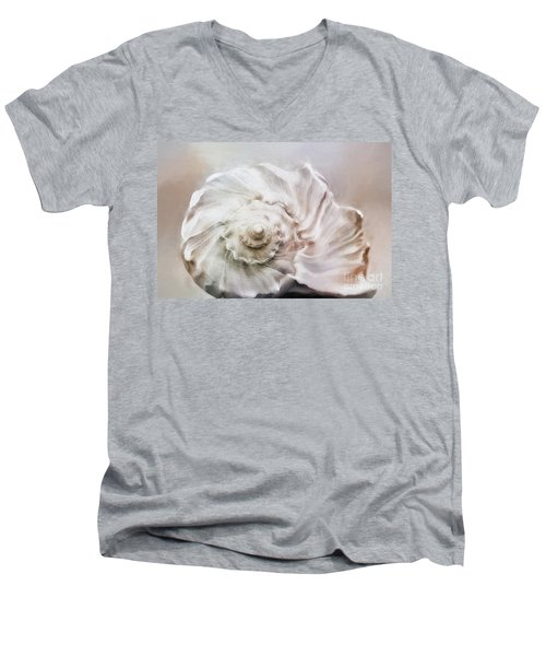 Men's V-Neck T-Shirt featuring the photograph Whelk Shell by Benanne Stiens
