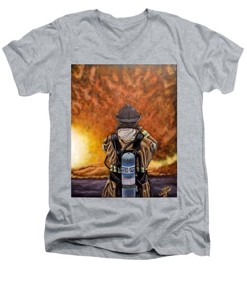 Men's V-Neck T-Shirt featuring the painting When Hell Comes To Visit by Dan Wagner