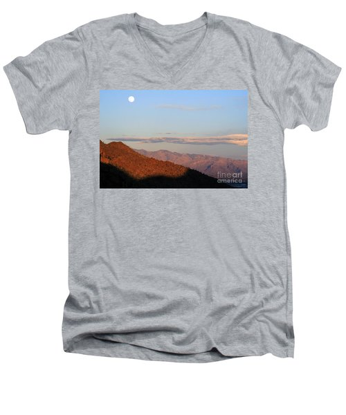 Men's V-Neck T-Shirt featuring the photograph When The Mountains Turn Pink... by Paula Guttilla