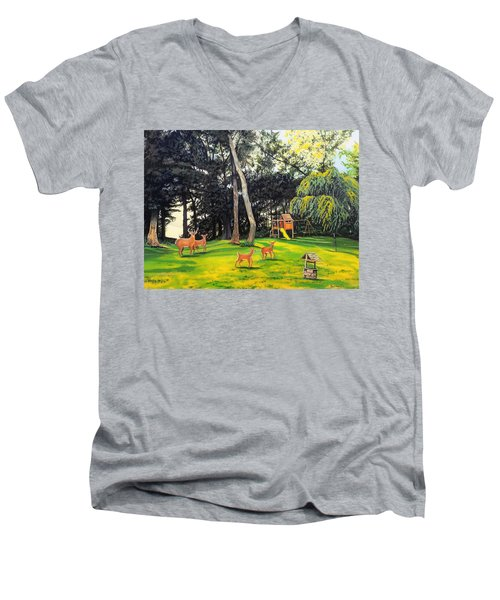 When World's Collide Men's V-Neck T-Shirt by Kevin F Heuman