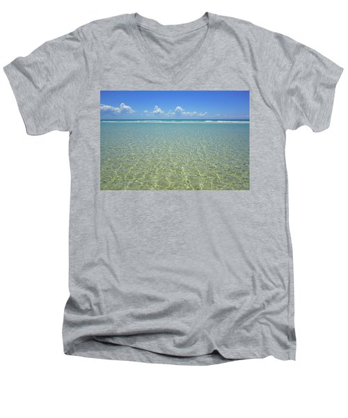 Where Crystal Clear Ocean Waters Meet The Sky Men's V-Neck T-Shirt