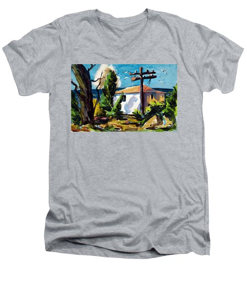Where I Will Be Double Matted And Plexi-glass Metal Framed Men's V-Neck T-Shirt