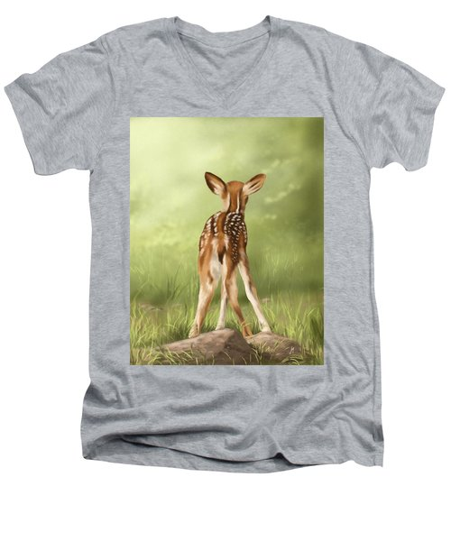 Men's V-Neck T-Shirt featuring the painting Where Is My Mom? by Veronica Minozzi