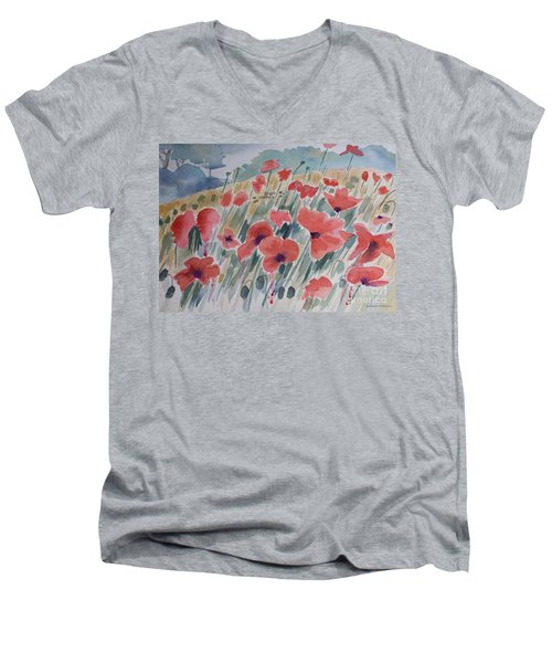 Where Poppies Grow Men's V-Neck T-Shirt