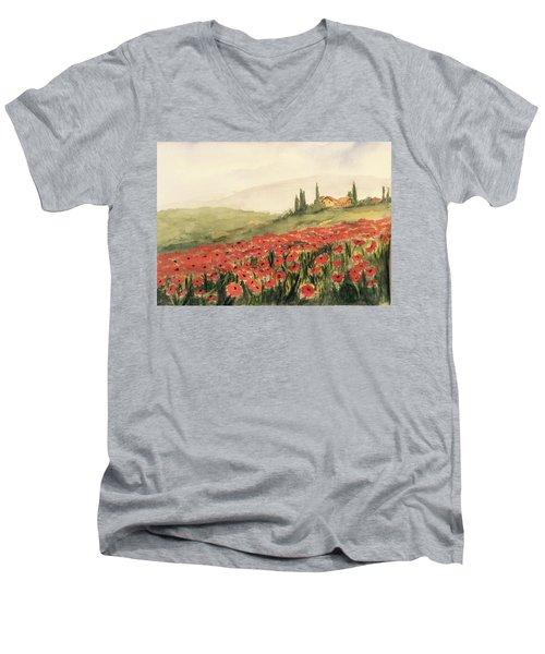 Where Poppies Grow Men's V-Neck T-Shirt by Heidi Patricio-Nadon