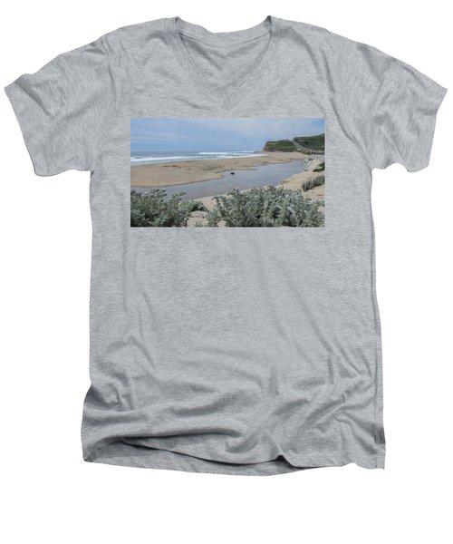 Where Scott Creek Meets The Ocean Men's V-Neck T-Shirt by Mark Barclay