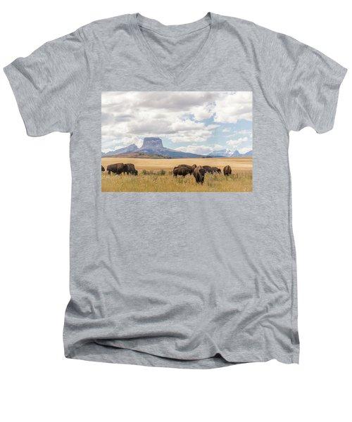 Where The Buffalo Roam Men's V-Neck T-Shirt