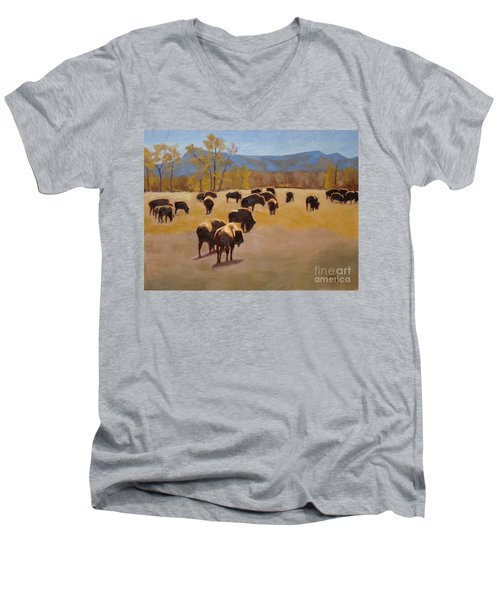 Where The Buffalo Roam Men's V-Neck T-Shirt