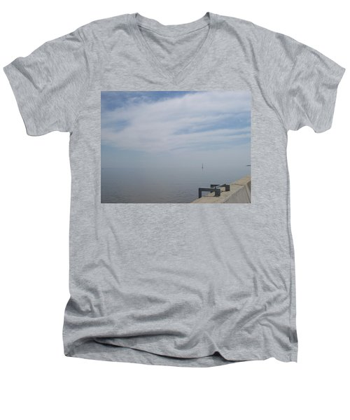 Men's V-Neck T-Shirt featuring the photograph Where Water Meets Sky by Mary Mikawoz