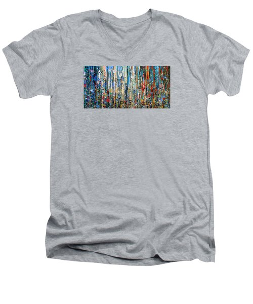 Where Wild Roses Bloom - Large Work Men's V-Neck T-Shirt