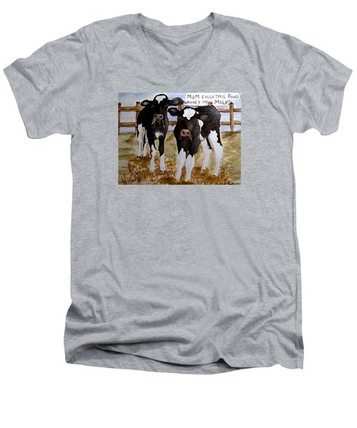 Men's V-Neck T-Shirt featuring the painting Where's My Milk? by Carol Grimes