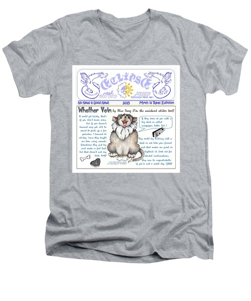 Real Fake News Blue Dawg Column Men's V-Neck T-Shirt
