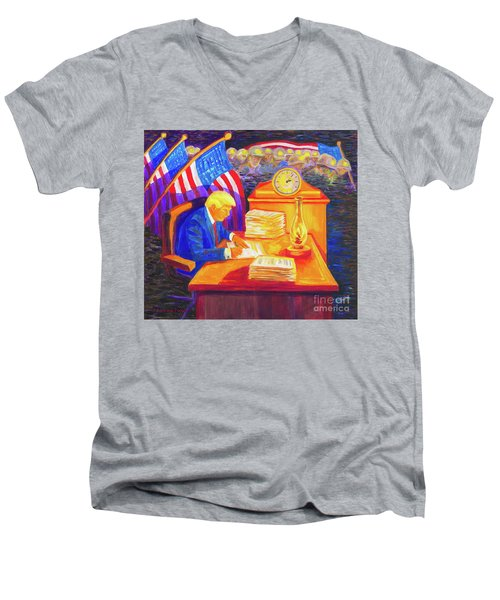 While America Sleeps - President Donald Trump Working At His Desk By Bertram Poole Men's V-Neck T-Shirt