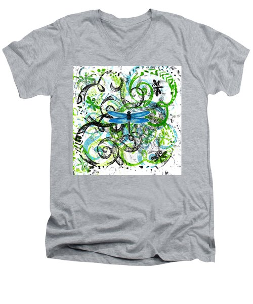 Whimsical Dragonflies Men's V-Neck T-Shirt