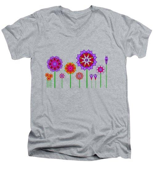 Whimsical Fractal Flower Garden Men's V-Neck T-Shirt