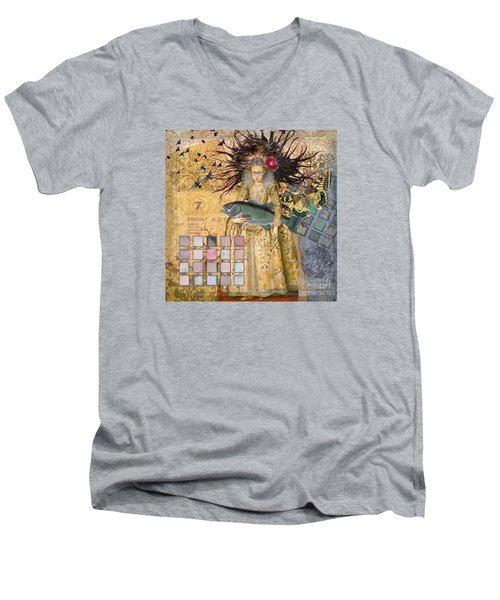 Whimsical Pisces Woman Renaissance Fishing Gothic Men's V-Neck T-Shirt by Mary Hubley