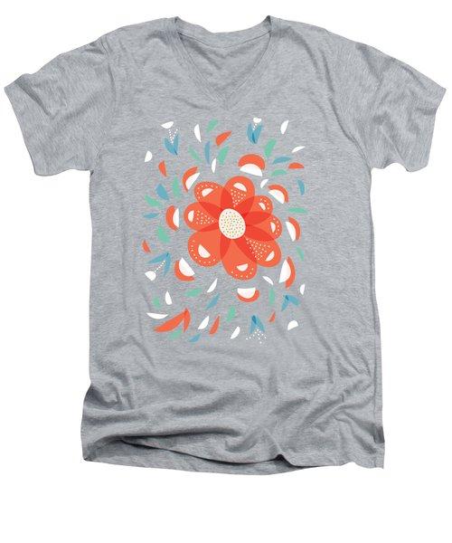 Whimsical Red Flower Men's V-Neck T-Shirt