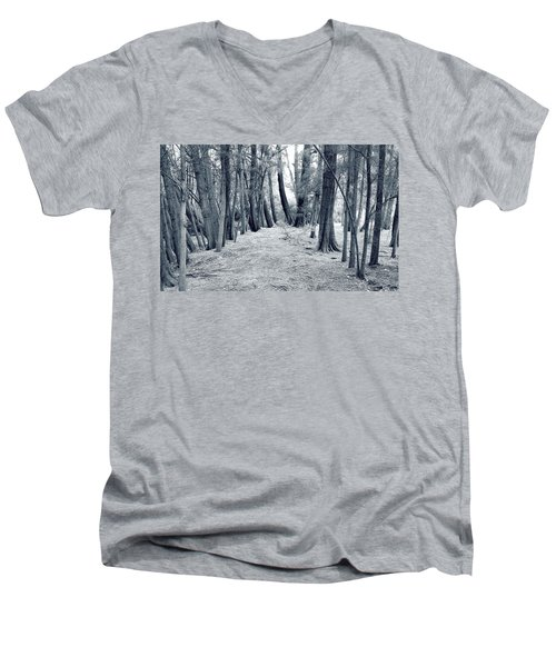 Men's V-Neck T-Shirt featuring the photograph Whispering Forest by Wayne Sherriff