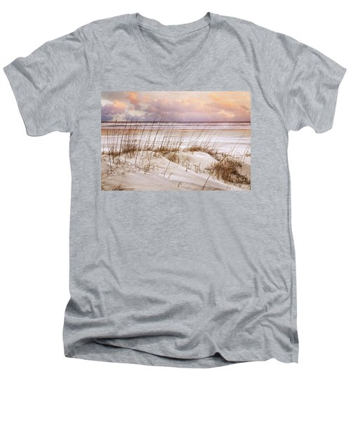 Men's V-Neck T-Shirt featuring the photograph Whispers In The Dunes by Debra and Dave Vanderlaan