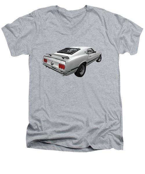 White '69 Mach 1 In Black And White Men's V-Neck T-Shirt