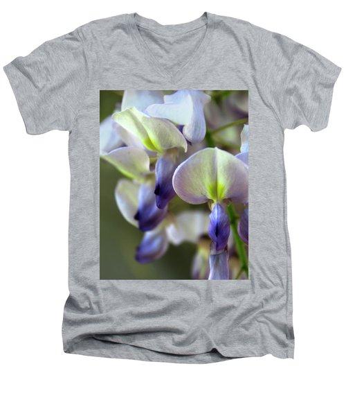 Wisteria White And Purple Men's V-Neck T-Shirt