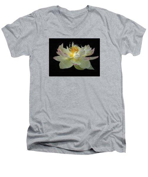 White And Pink Floral Men's V-Neck T-Shirt