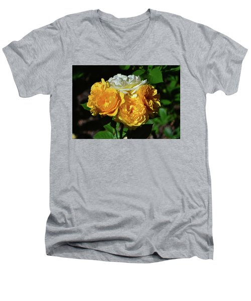 White And Yellow Rose Bouquet 001 Men's V-Neck T-Shirt