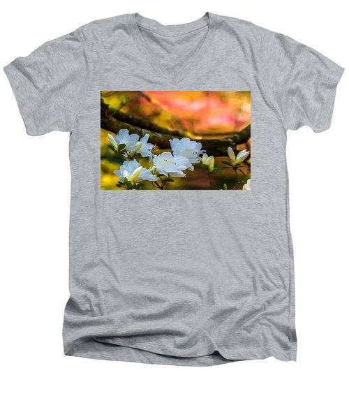 White Azaleas In The Garden Men's V-Neck T-Shirt by John Harding