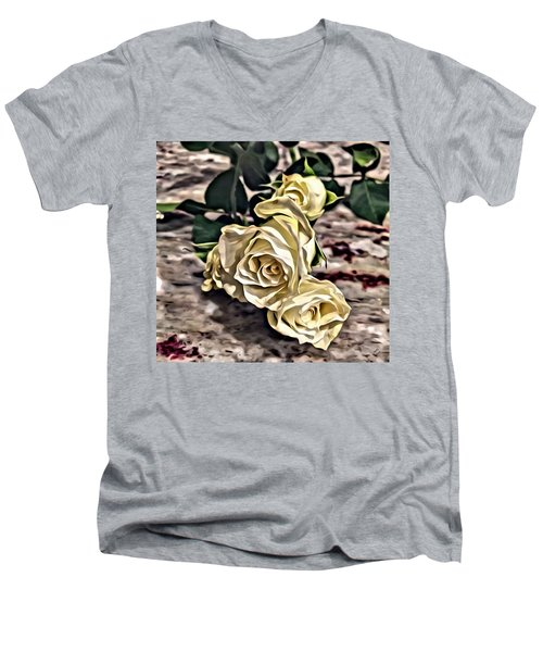 White Baby Roses Men's V-Neck T-Shirt