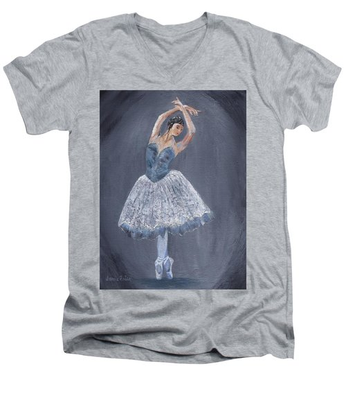 Men's V-Neck T-Shirt featuring the painting White Ballerina by Jamie Frier