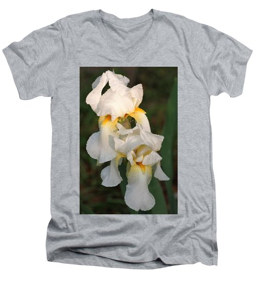 Men's V-Neck T-Shirt featuring the photograph Two White Bearded Iris At Dusk by Sheila Brown