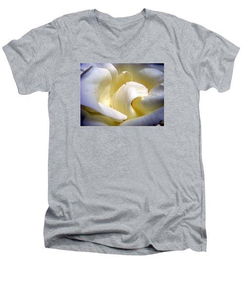 White Beauty Rose Men's V-Neck T-Shirt