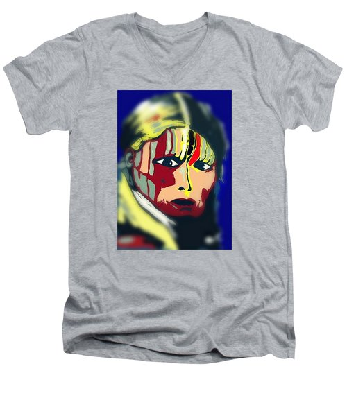 Men's V-Neck T-Shirt featuring the drawing White Belly Sioux.1900. Popart by Ayasha Loya