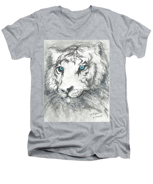 Men's V-Neck T-Shirt featuring the drawing White Bengal Tiger by Denise Fulmer