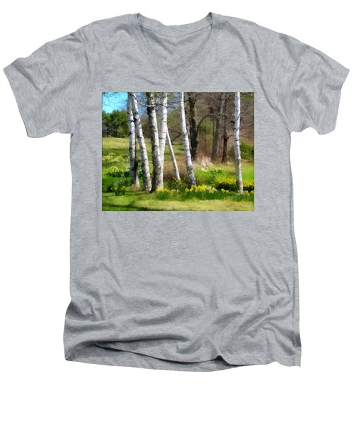 White Birch Trees And Jonquils Men's V-Neck T-Shirt